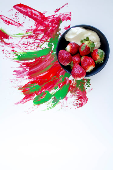 strawberries and cream with color