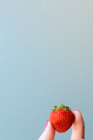 strawberry in hand blue background