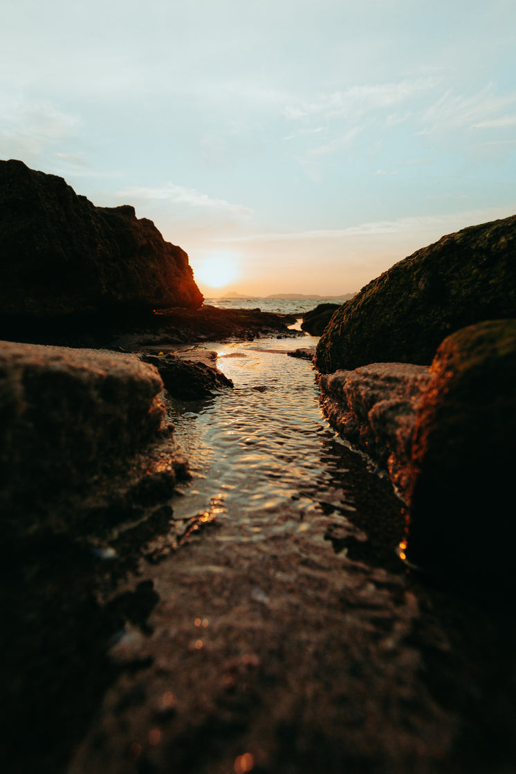 Stream Meets The Sea At Sunset