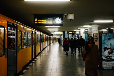 strolling through a busy subway station