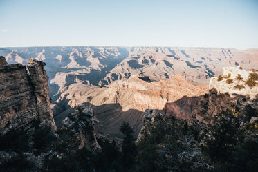 sun and shadows over sprawling canyon