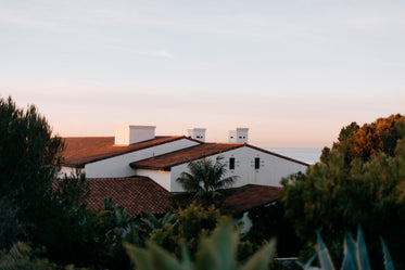 sunlight catches the rooftop of this californian home