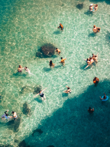 swimmers enjoy crystal water shallows