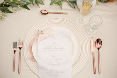 table setup with menu at wedding