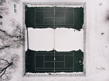 tennis courts abandoned for the winter season