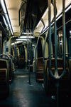 the empty interior of a public transit vehicle