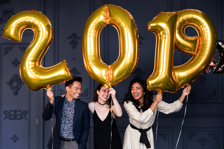 Three Friends Holding 2019 Helium Balloons