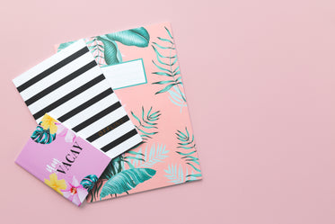 three notebooks against a pink background