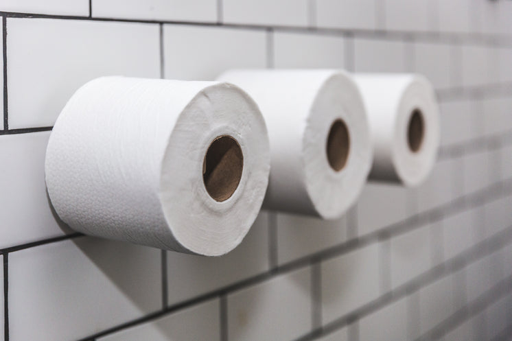 Three Rolls Of Toilet Paper On White Tile Wall