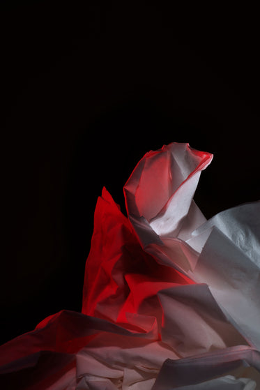 tissue lit with red
