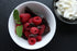 Browse Free HD Images of Top View Of Raspberries Chocolate And Mint In White Dish