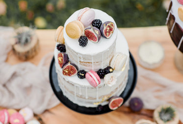 top view of two tier cake