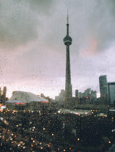 toronto seen through a rain covered window