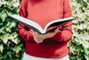 torso of a person in a red sweater holding open a book