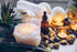 towels bath bombs and candles