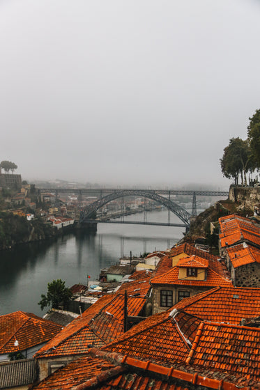 traditional roofs and modern bridge