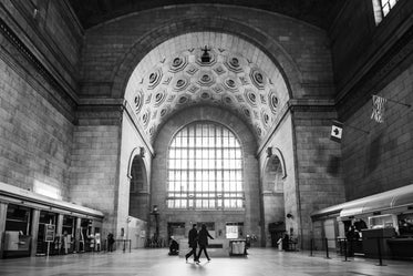train station in black and white