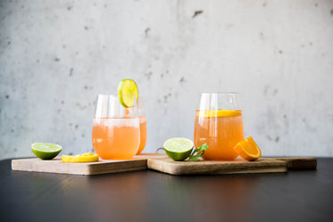 two cocktails sit on wooden boards surrounded by citrus