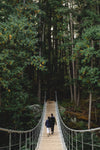 two people hike towards a forest on a suspension bridge