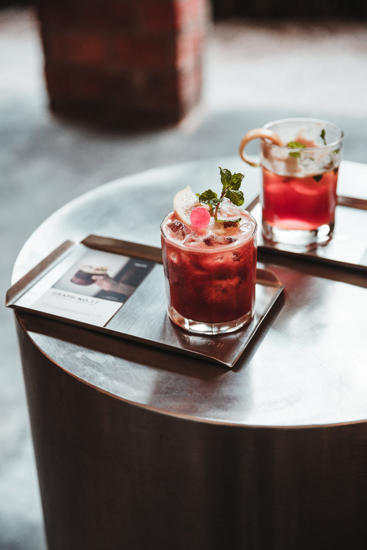 Two Red Cocktails On A Tray