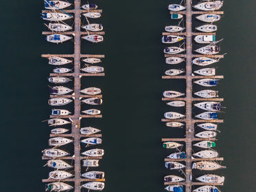 two rows of docked boats