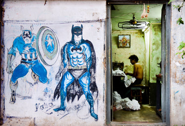 urban artwork and textile worker