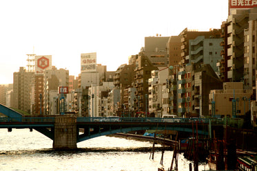 urban bridge through japanese city