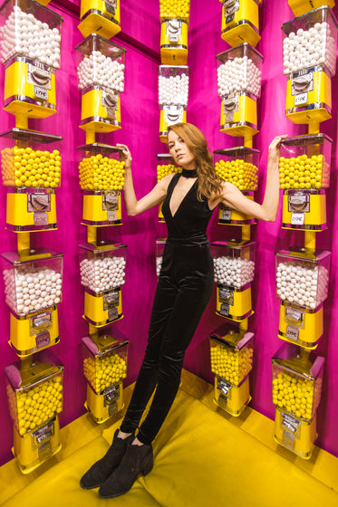 velvet jumpsuit fashion with candy machines