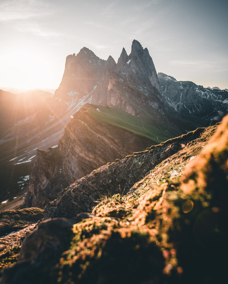 Vertical Mountain Peaks At Sunrise