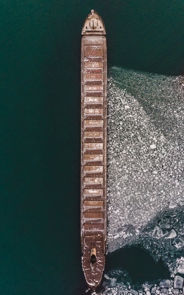 vertical view of ship against the ice