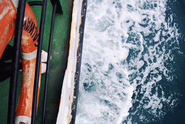 view looking down on boat at sea