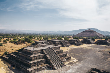 view of pyramid of the sun over ruins