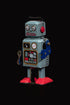 Browse Free HD Images of Vintage Blue Robot Portrait In Front Of Black Background