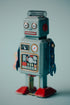 vintage robot full body blue background