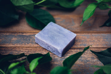 violet soap with leaves