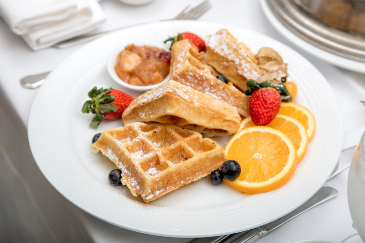 Waffles And Fruit Breakfast