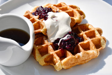 waffles with cream and jam