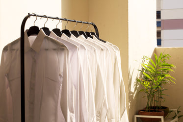 Browse Free HD Images of White Collar Shirts On Rack In Sun