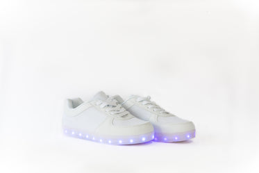 white lowtop led shoes