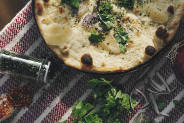 white pizza and herbs