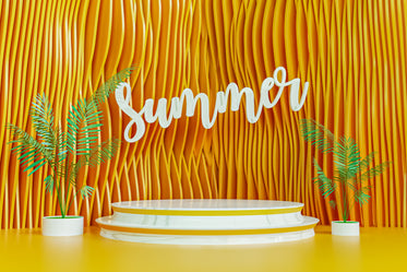 white sign says summer against a yellow curved wall