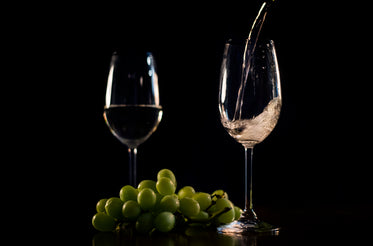 white wine pouring with grapes