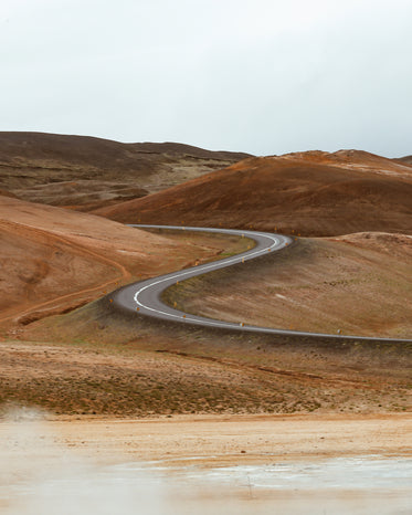 winding road in the sandy desert