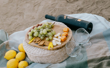 wine and cheese picnic on the beach