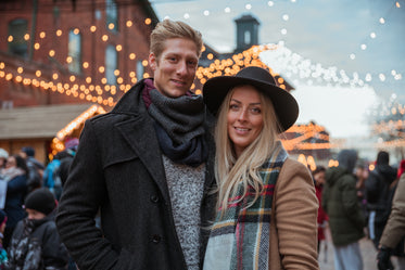 winter couple at festival