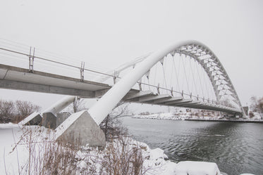 winter under a white bridge