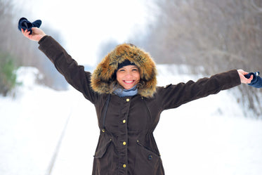 woman celebrates winter