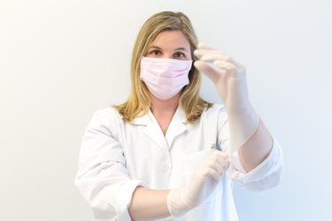 woman doctor with gloves