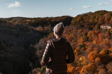 woman enjoys the autumn views