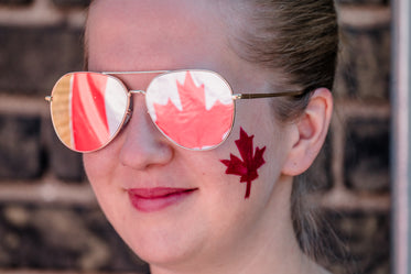 woman facepainted canada day